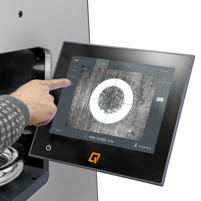 Ergonomic 12-inch touch display on Qness EVO Series Macro Hardness Tester