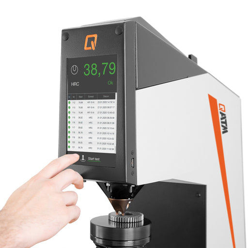 Touch-screen control display on the Qness 150 CS ECO Rockwell Hardness Tester