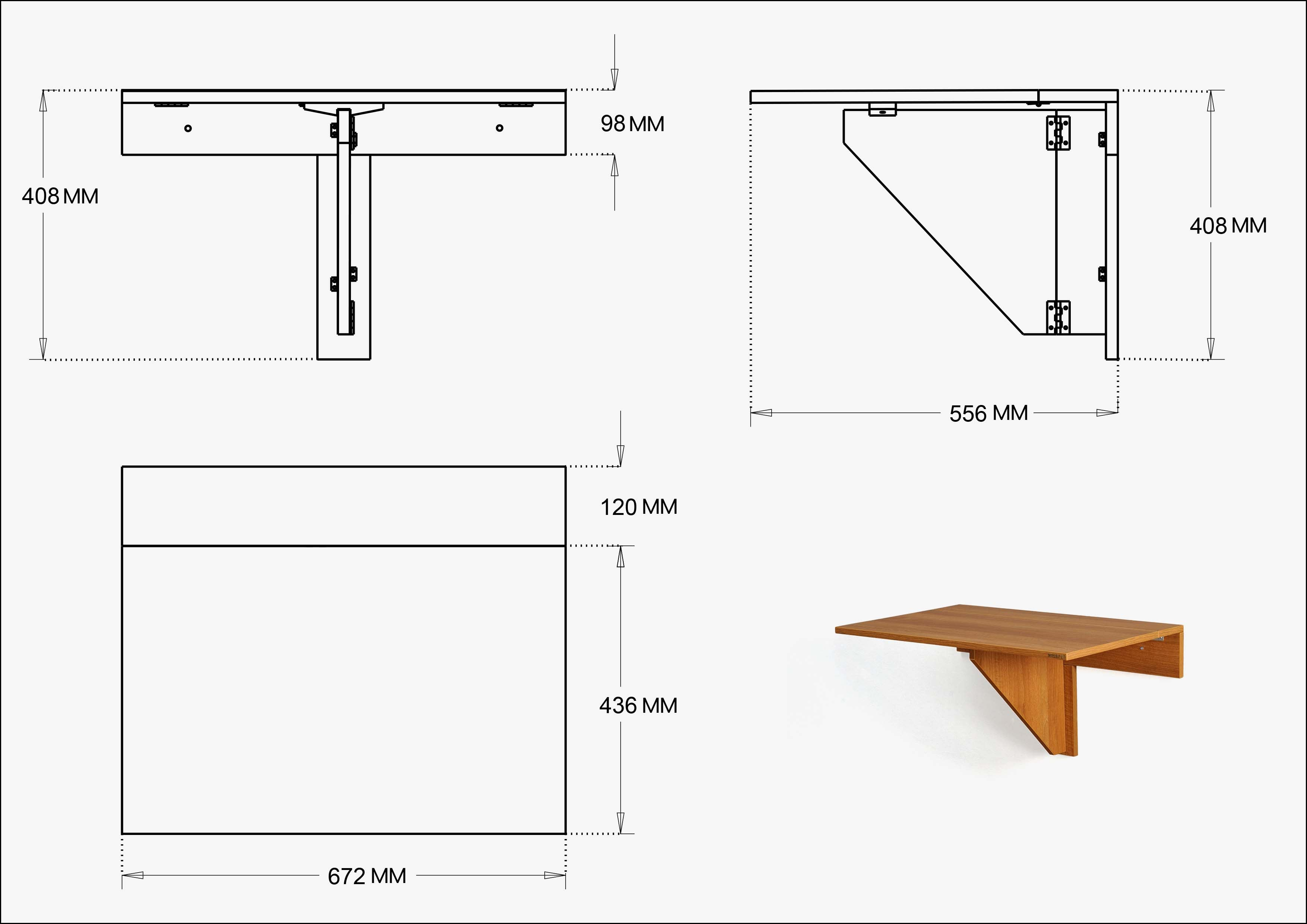 Wall mounted Folding table Dimension | www.invisiblebed.com