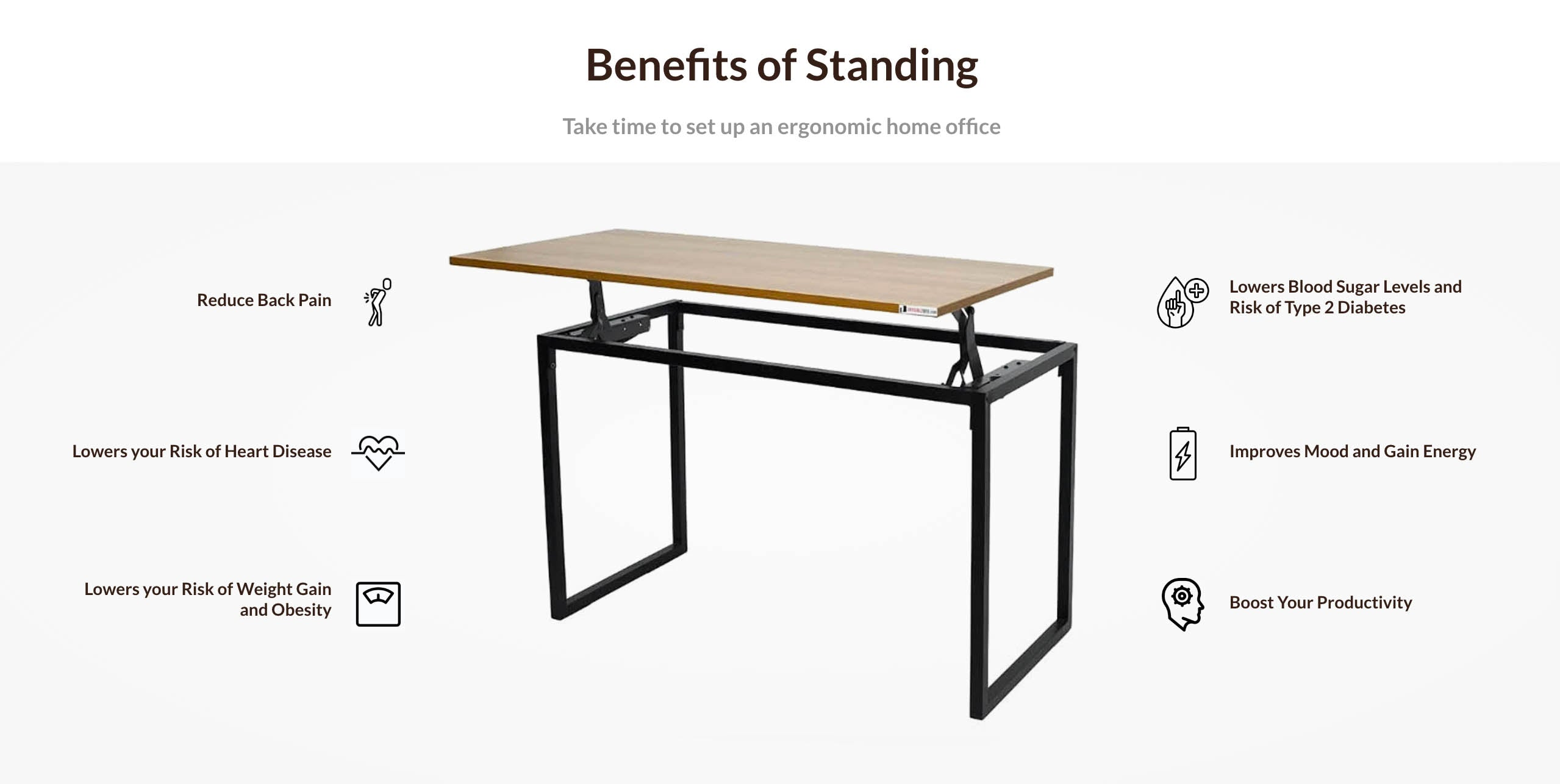 Height Adjustable Sit Stand Table for Office/Study/Computer/Dining