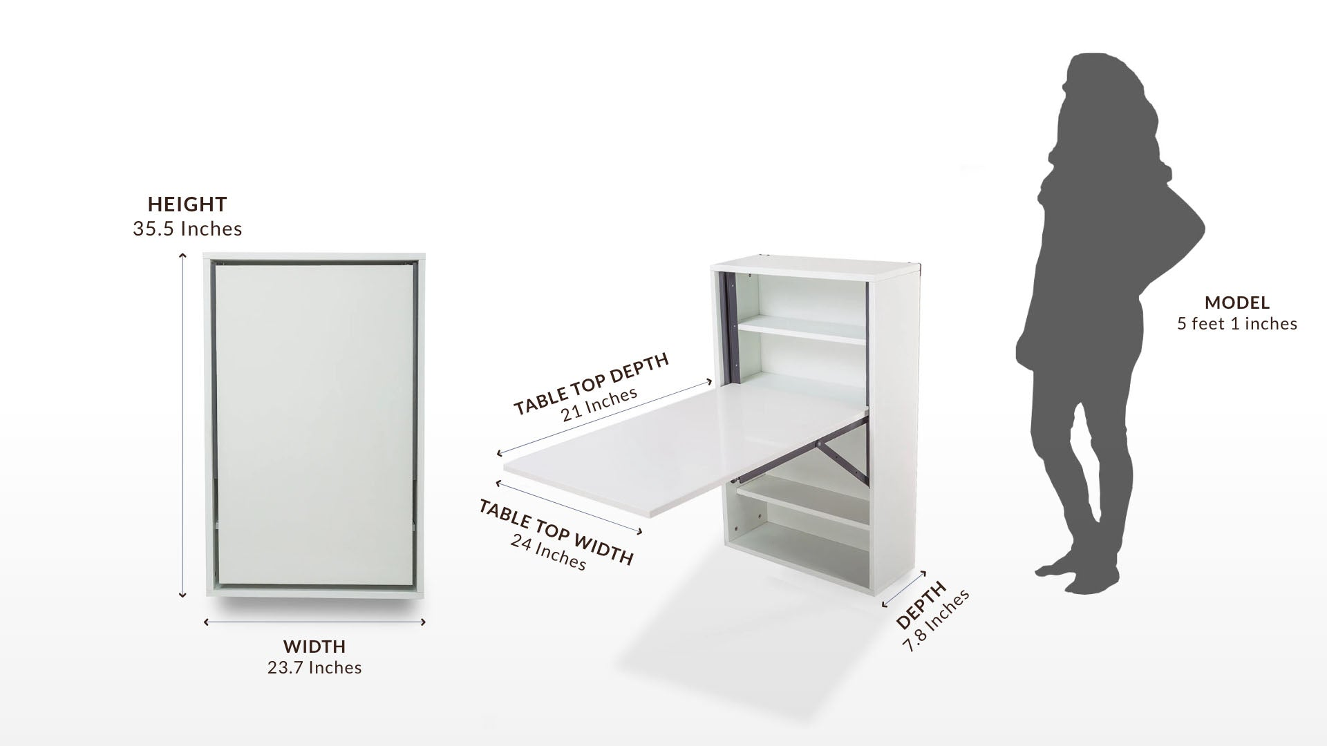 Small Multipurpose Wall Mounted Easy Slideup Table with Storage for Study/Office/Dining Table