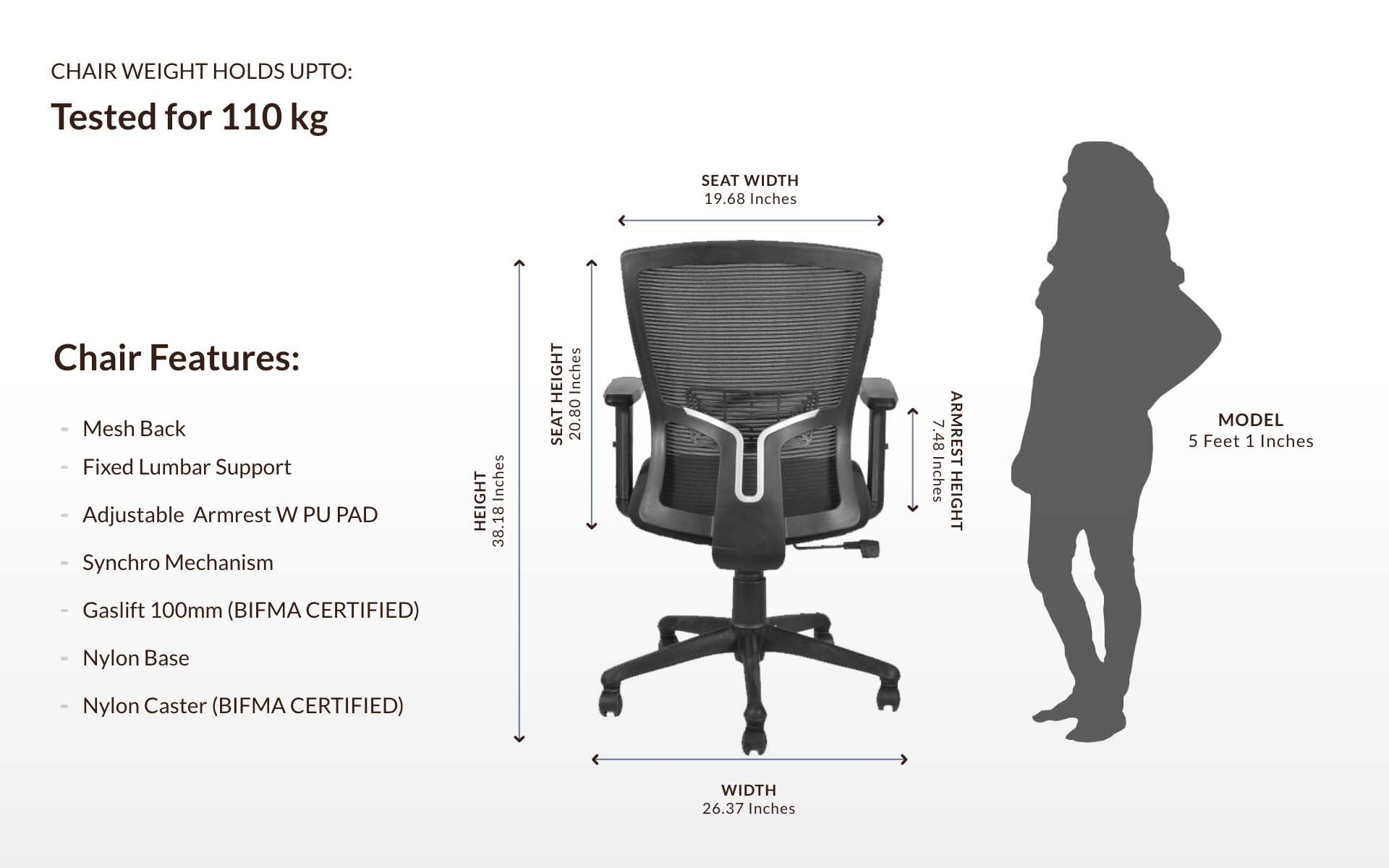 Ergonomic Study Chair With Lumbar Support