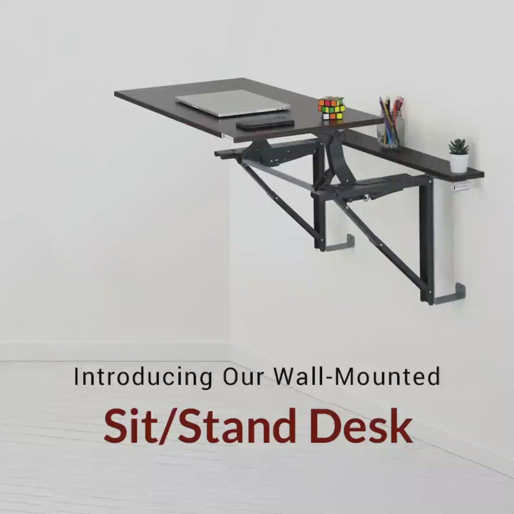 Color_Glossy White | Wall Mounted Sit/Stand Desk