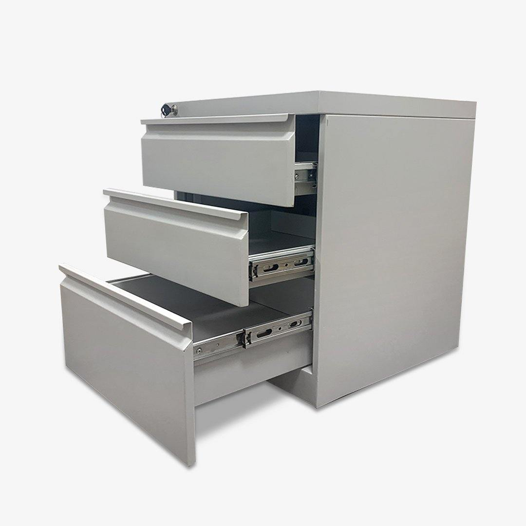 Pedestal Movable Three Level Storage With Locker Key