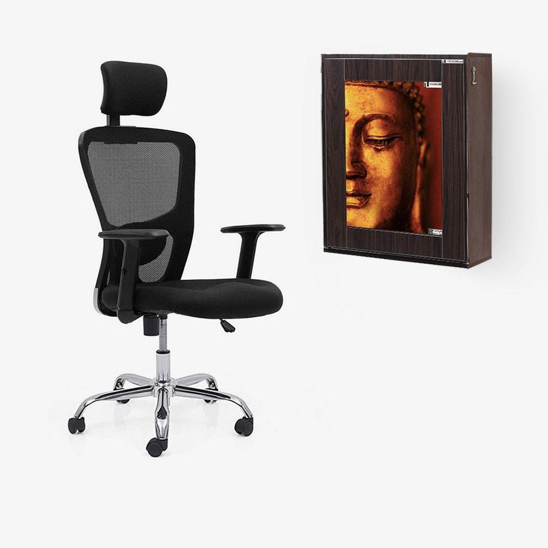 Combo of Wall Mounted iTable Standard + Ergonomic Chair With Lumbar Support and Headrest