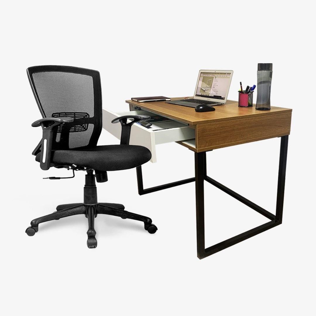 Combo of Standing Lift Up Table With Storage + Ergonomic Office Chair With Lumbar Support