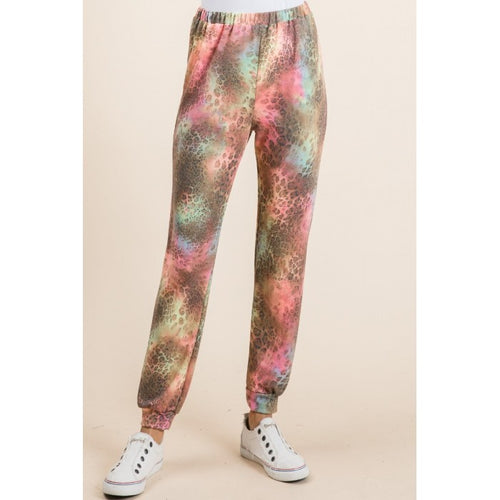 Neon And Leopard Tie Dye Joggers