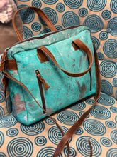 Load image into Gallery viewer, Turquoise Messenger/Computer Bag
