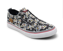 Load image into Gallery viewer, Black Lazy Daisy Print (Sunflower) Blowfish Sneakers