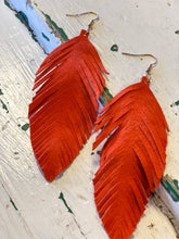 Load image into Gallery viewer, Leather Feather Earrings