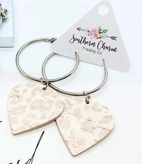Cream and White Leopard Hoop Earrings