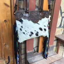 Load image into Gallery viewer, Cream With Black Hand Tooled Handbag
