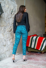 Load image into Gallery viewer, Teal Snake Skinny Jeans