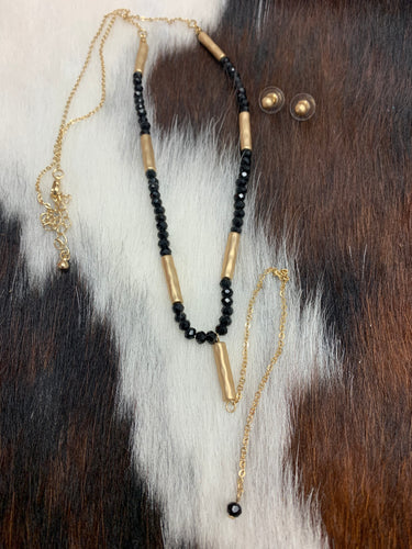 Black & Gold Bead Pendant Necklace Set