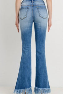 Long Fringed Flare Jeans