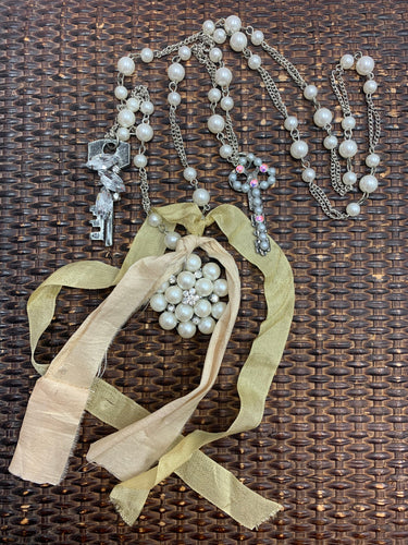 Pearl Pendant and Keys Necklace