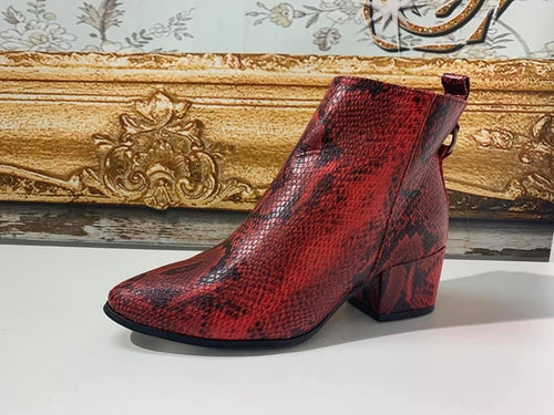 Nicola Red Snake Booties