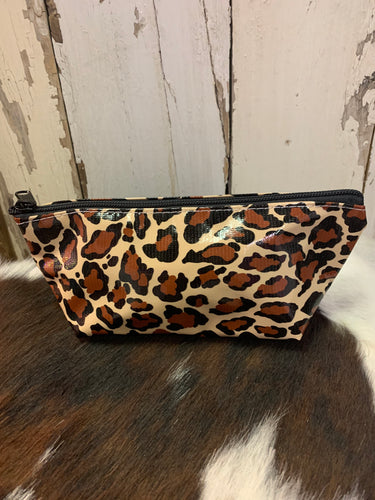 Leopard Mini Oilcloth Cosmetic Bag