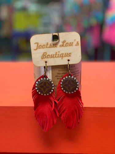 Red Feather LV Earrings