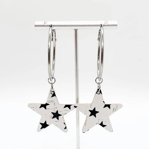 White & Navy Star Hoop Earrings