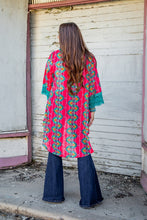 Load image into Gallery viewer, Turquoise And Coral Aztec Kimono