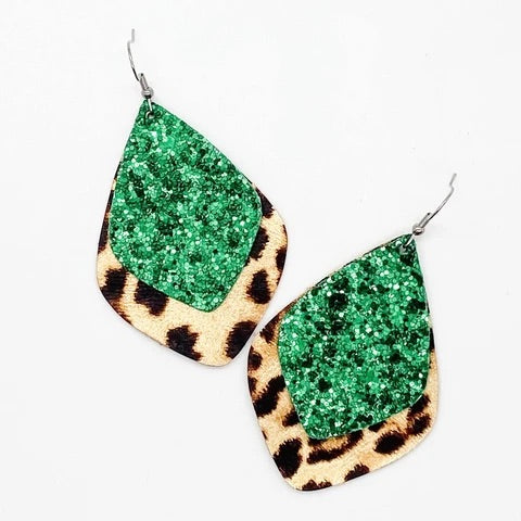 Leopard And Green Glitter Earrings