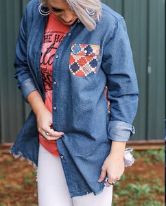 Denim Pattern Top