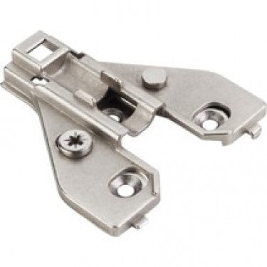 Polished Nickel 700 Series Mounting Plate with 6mm Height Adjustment for Concealed Euro Hinges on Face Frame Cabinets - Single
