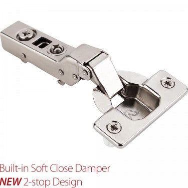 Polished Nickel 700 Series Full Overlay Adjustable Concealed Euro Hinge with 110 Degree Opening Angle and Soft Close - Single Hinge