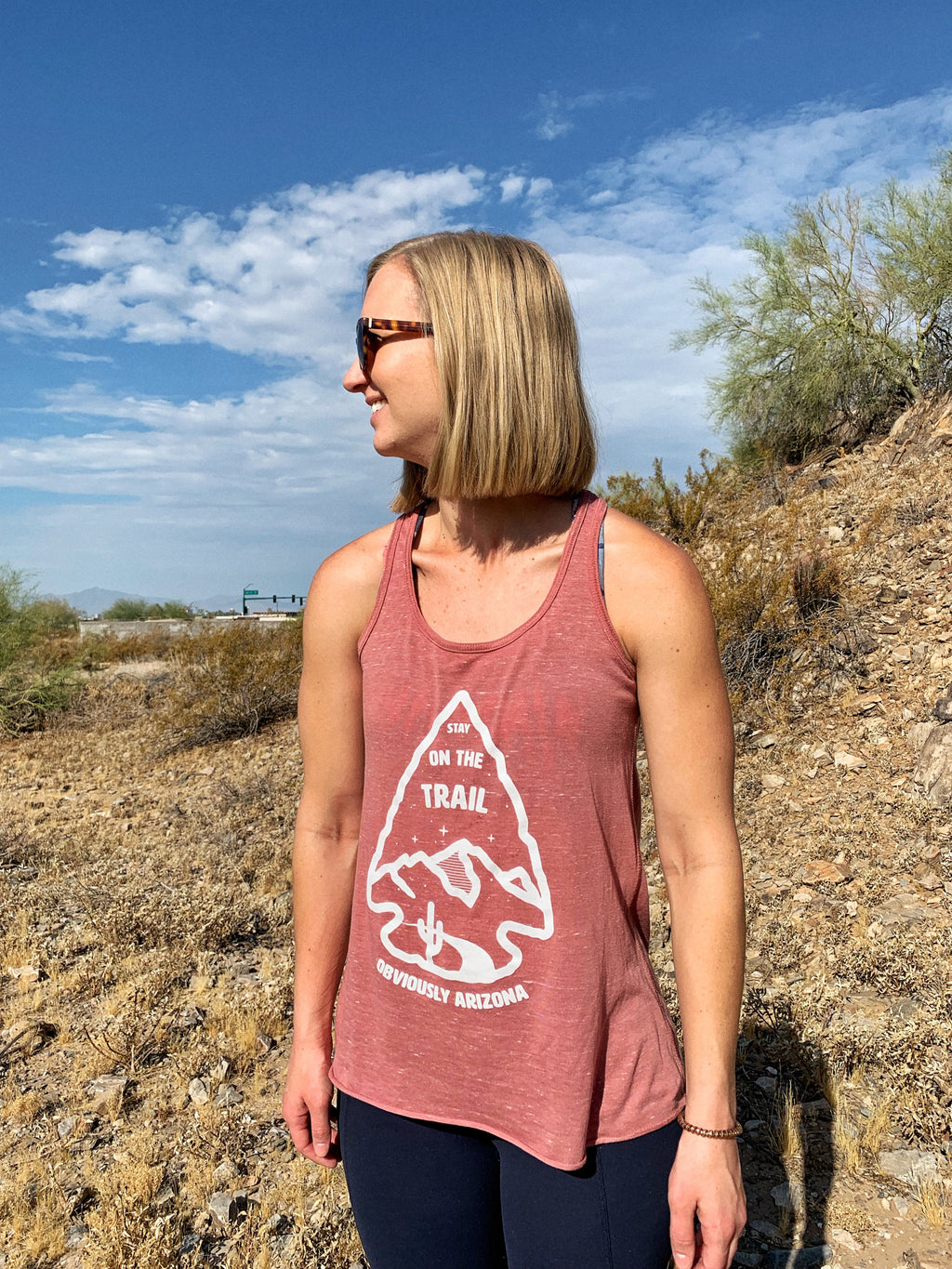 Stay On The Trail - Women's Racerback Tank - Marble Mauve - Obviously Arizona