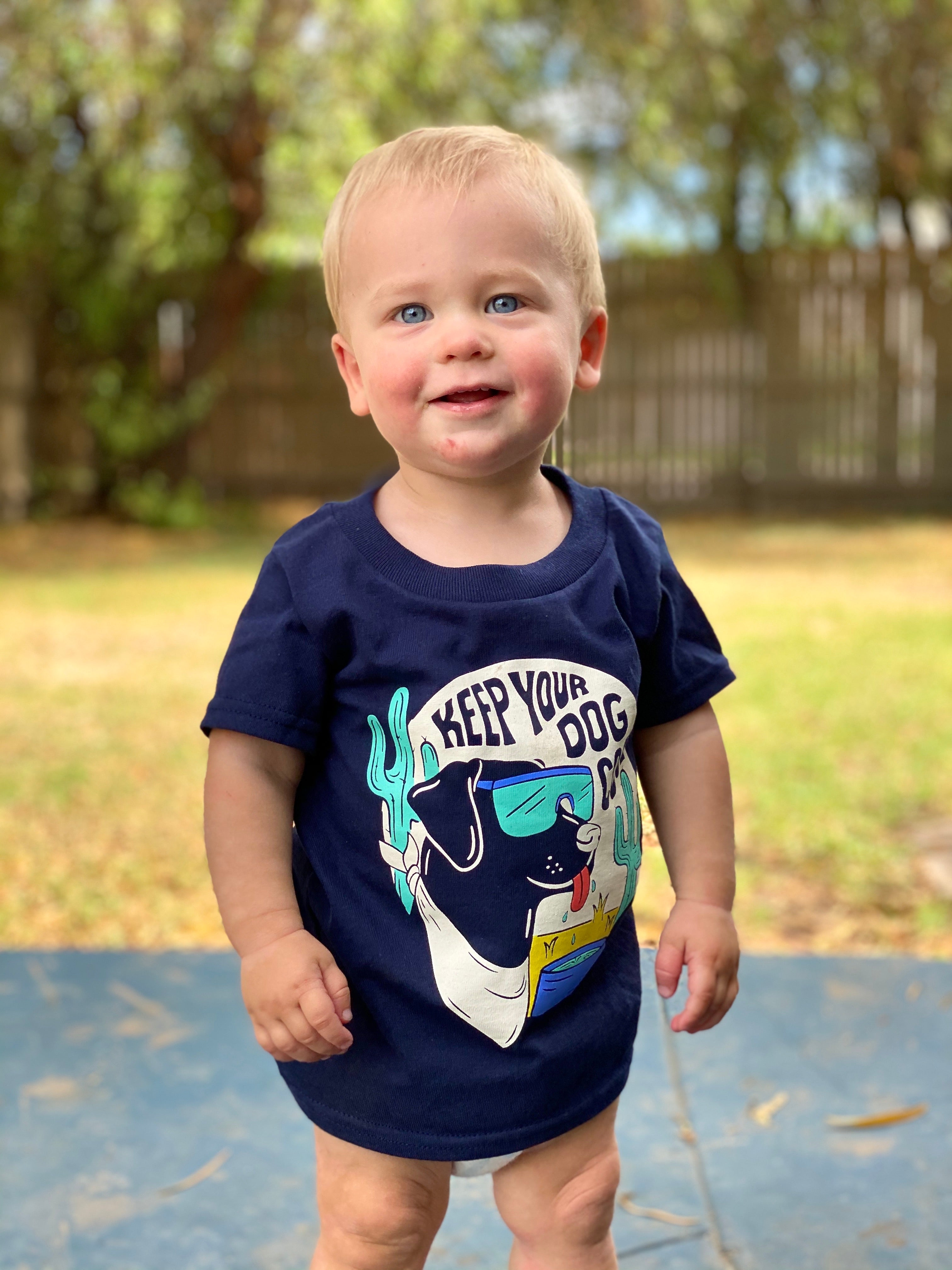 """Keep Your Dog Cool"" Kid's Tee Navy - Obviously Arizona"