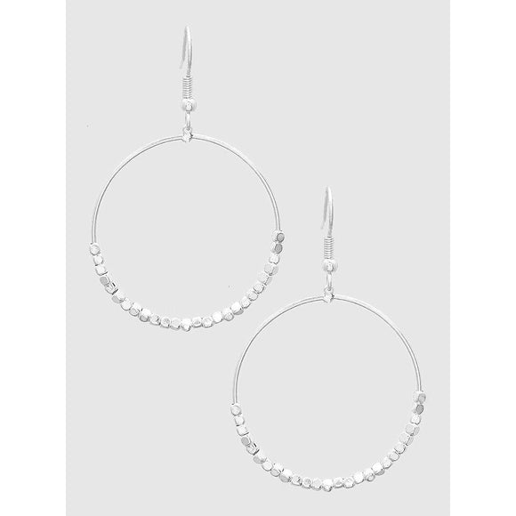 Square Bead Round Drop Earrings (5390368112805)
