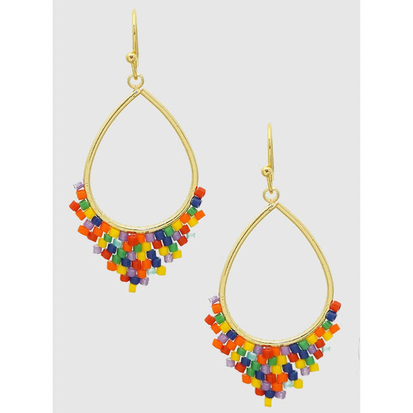 Teardrop Shape Beaded Drop Earrings (5390353858725)