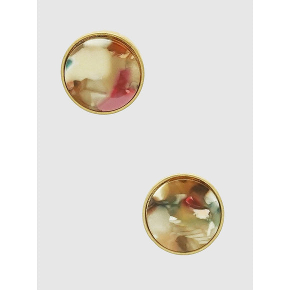 Acetate Round Stud Earrings (5390319616165)