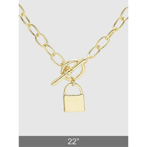 Polished Metal Padlock Lariat Necklace - abby+anna's boutique
