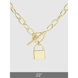 Polished Metal Padlock Lariat Necklace (5395634061477)