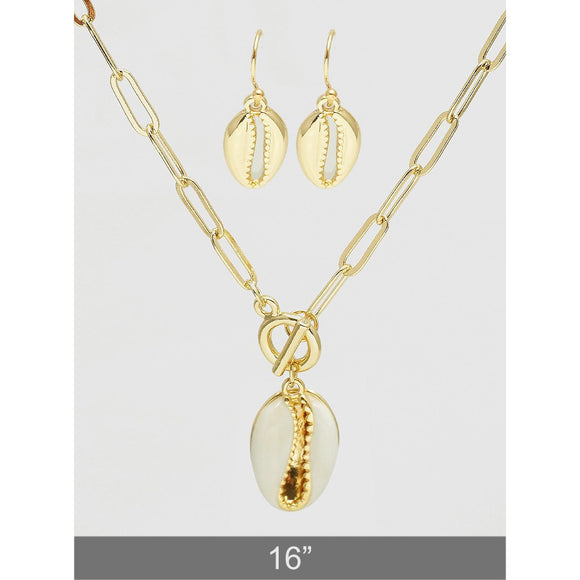 Sea Shell Necklace and Earring Set (5395659128997)