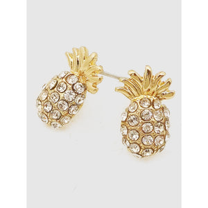 Pineapple Crystal Pave Stud Earrings (5395690848421)
