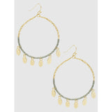 Beaded Earring With Hammered Metal Charms (5390379581605)