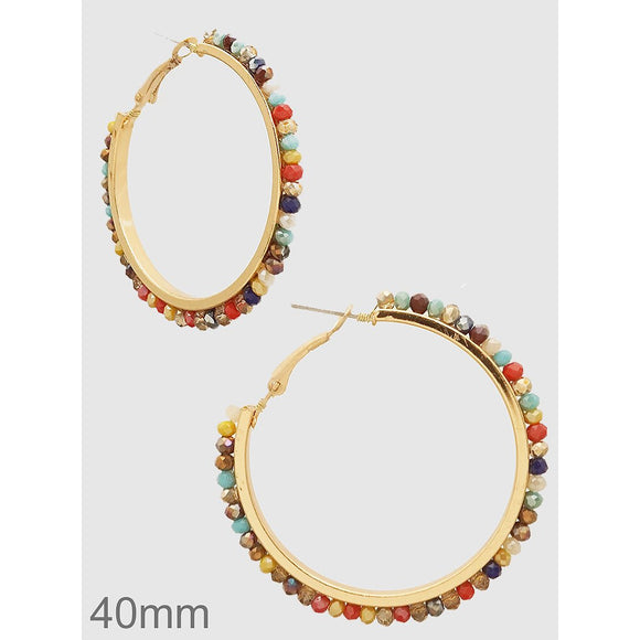 Faceted Beads Hoop Earrings - abby+anna's boutique