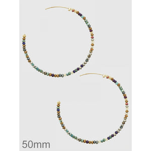 Beaded Open Hoop Earring - 50 mm - abby+anna's boutique (5395730596005)