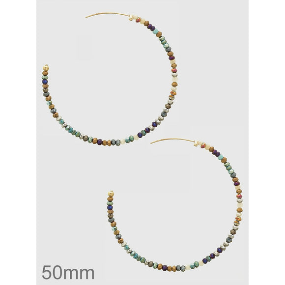 Beaded Open Hoop Earring - 50 mm - abby+anna's boutique