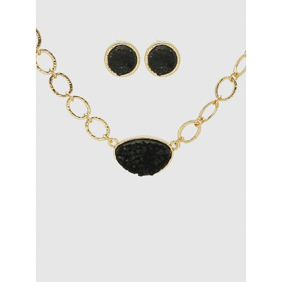 Hammered Metal Chain Necklace with Druzy pendant and Earring Set - abby+anna's boutique
