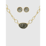Hammered Metal Chain Necklace with Druzy pendant and Earring Set (5395637895333)