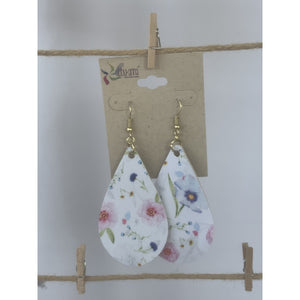 Large Pastel Floral Teardrop Earrings (6079675367605)