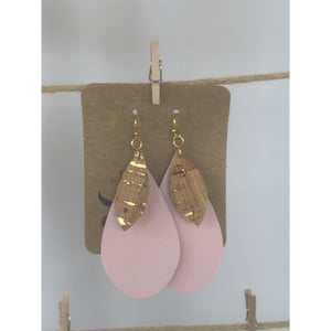 Pink with Cork Accent Teardrop Earrings (6079676088501)