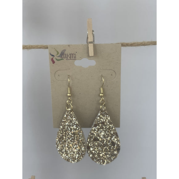 Gold Glitter Earrings (6079647940789)