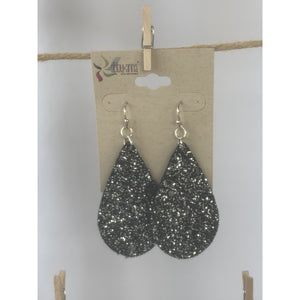 Silver & Black Glitter Earrings - abby+anna's boutique