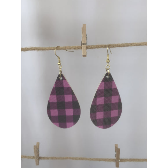 Magenta Buffalo Plaid Earrings (6079651905717)