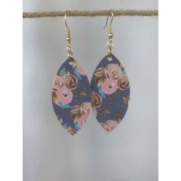 Denim Rose Earrings (6079672090805)